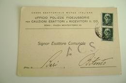 1944  BARI  BITONTO  CASSA ESATTORIALE MUTUA ITALIANA   PERIODO GUERRA   PUGLIA     VIAGGIATA  COME DA FOTO FORMATO GRAN - Bitonto