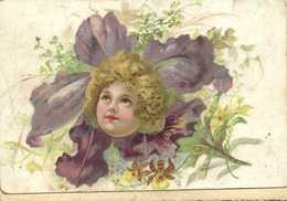 Fantasmagorie Visage D'enfant Au Milieu D'un Bouquet De Fleurs RV - Portraits