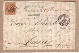 FRANCE TUNISIE - LETTRE MARSEILLE POUR TUNIS CAD BOITE MOBILE MARSEILLE + GC 5055 SUR Y.T. N° 23 40 C - POTHION - 1869 - Marcophilie (Lettres)