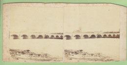 TOURS Vers 1860 - 1870 : Pont Et Cathédrale. Photo Stéréoscopique. 2 Scans. - Stereoscopic