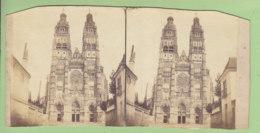 TOURS Vers 1860 - 1870 : La Cathédrale. Photo Stéréoscopique. 2 Scans. - Stereoscopic