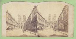 ORLEANS Vers 1860 - 1870 : Rue Jeanne D'Arc Et La Cathédrale. Photo Stéréoscopique. 2 Scans. - Stereoscopic