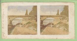 ORLEANS Vers 1860 - 1870 : Le Pont De Vierzon. Photo Stéréoscopique Colorisée. 2 Scans. - Stereoscopic