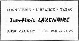~  JP   ~  PETIT   CALANDRIER   ~   VAGNEY  ~    Pub    JEAN -MARIE    LAXENAIRE  ~ - Calendriers