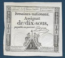 ASSIGNAT De  Dix Sous  - 4 Janvier 1792 - Assignats