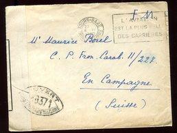Enveloppe En FM De Tours Pour La Suisse En 1940 Avec Contrôle Postal - N201 - Marcophilie (Lettres)