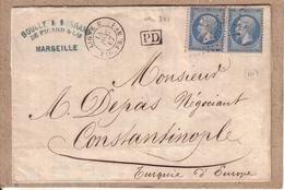 FRANCE TURQUIE - LETTRE MARSEILLE POUR CONSTANTINOPLE , CAD LIGNE U PAQ. FR. N° 1 , Y.T. N° 22 20 C - 1867 - Poste Maritime