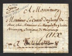 Lettre De Lyon-1776-Marque Déboursé De Toulon - Marcofilie (Brieven)