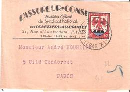 60c.Blason Comté De Nice Sur Bande Pour IMPRIMES Oblitéré PARIS IX - Marcophilie (Lettres)