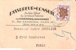 2 F.Blason Touraine Sur Bande Pour IMPRIMES Oblitéré PARIS IX - Marcophilie (Lettres)
