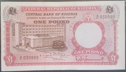 Nigeria UNC 1967 P.8 1 Pound Banknote #039999 Serial Number - Nigeria
