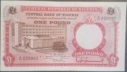 Nigeria UNC 1967 P.8 1 Pound Banknote #039993 Serial Number - Nigeria