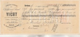 Lettre De Change 1/9/1935 Compagnie Fermière Etablissement Thermal De VICHY  De BORDEAUX  Pour Béziat  à Lectoure Gers - Décrets & Lois