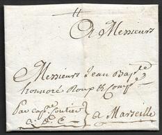 1739 LAC A MARSEILLE - Q.D.C - QUE DIEU CONDUISE - LETTRE MARITIME - Marcophilie (Lettres)
