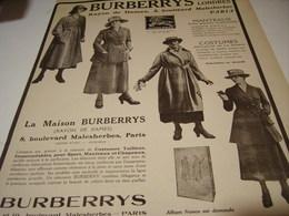 ANCIENNE PUBLICITE RAYON DAMES BURBERRYS  1917 - Habits & Linge D'époque
