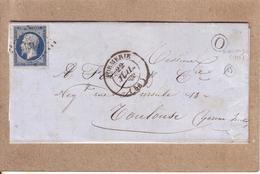 """OISE , HAUTE GARONNE - LETTRE DE FORMERIE POUR TOULOUSE , BOITE RURALE """"O"""" MOLIENS , PC 1314 SUR Y.T. N° 14 20 C - 1867 - Poste Maritime"""