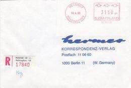 SFS On Cover: Finland Registered Cover Helsingfors 1989 To Germany  (T20-24) - ATM - Frama (vignette)