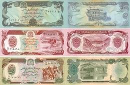 AFGHANISTAN Set Of 50 100 500  Afghanis P 57, 58, 60   UNC - Afghanistan