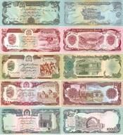 AFGHANISTAN Set Of 50 100 500 1000 10000  Afghanis P 57, 58, 60, 61, 63   UNC - Afghanistan