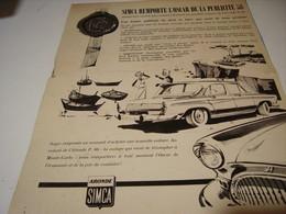 ANCIENNE PUBLICITE VOITURE  SIMCA ARONDE 1959 - Voitures