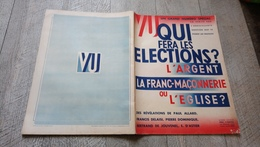 Revue Vu N° Spécial 1936 Qui Fera Les élections La Franc Maçonnerie Ou L'église L'argent Politique - Livres, BD, Revues
