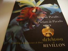 ANCIENNE PUBLICITE  PARFUM DETCHEMA DE REVILLON 1957 - Other