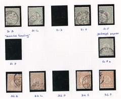 1876-1894 Cijfertype 1 Cent Groen En 2 Cent Geel Diverse Tandingen NVPH 31 En 32 - Periode 1852-1890 (Willem III)