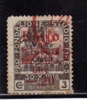 FIUME 1919 1920 PRO FONDAZIONE STUDIO SOPRASTAMPATO MARCA DA BOLLO REVENUE SURCHARGED USATO USED OBLITERE' - 8. Occupazione 1a Guerra