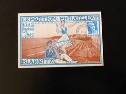 CARTE POSTALE  EXPOSITION PHILATELIQUE  BIARRITZ  1947 - Postmark Collection (Covers)