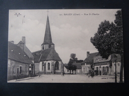 18  BAUGY  Rue  St - Martin  -  Café  Du  Commerce  -  Garage  CITROEN - Baugy