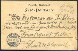 1900 (25th November) China Boxer Feldpost No 3 Chinakrieg Postcard - Frankfurt Germany - Chine