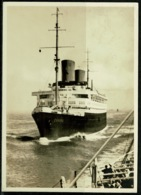 """Ref 1239 - Real Photo Ship Postcard - Nord Lloyd """"Europa"""" 3pf Rate To Stuttgart Germany - Paquebots"""