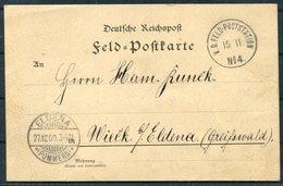 1900 (November 15th) China Boxer Feldpost No 4 Tongku Chinakrieg Postcard - Eldena Pommern Germany - China