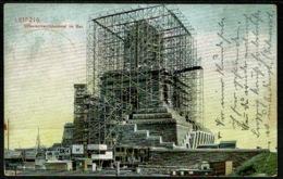Ref 1239 - 1909 Germany Postcard - Leipzig Bahnpost Postmark - Scaffolding Construction - Leipzig