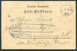 1900 (October 9th) China Boxer Feldpost No 5 Tientsin Chinakrieg Postcard -Brandensburg Germany - Covers & Documents