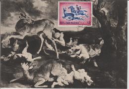 Saint Marin Carte Maximum 1961 Histoire De La Chasse 510 - Lettres & Documents