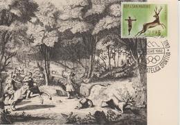 Saint Marin Carte Maximum 1961 Histoire De La Chasse 514 - Lettres & Documents