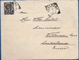 Nederlands Indie 1908 10 Cts Wilhelmina Overpinted JAVA From Ambarawa To Willisau, Switzerland, Single Franking - Indes Néerlandaises