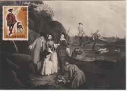 Saint Marin Carte Maximum 1961 Histoire De La Chasse 517 - Lettres & Documents