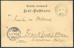 1901 (4th January) China Boxer Feldpost No 8 Shanghai Kuan / Schan-hei-kwang Chinakrieg Postcard - Frankfurt Germany - China