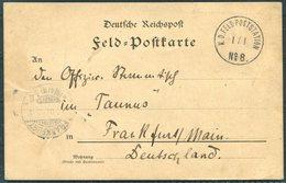 1901 (January 1st) China Boxer Feldpost No 8 Shanghai Kuan / Schan-hei-kwang Chinakrieg Postcard - Frankfurt Germany - China