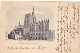 654/ Gruss Aus Stralsund, 1898, Rathaus Und Nicolaikirche - Stralsund