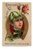 CHROMO Chocolat Poulain Enfant Jockey Bombe Fer à Cheval Fleurs Roses - Poulain