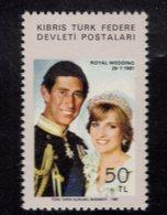 671343187 TURKISH CYPRUS 1981 POSTFRIS MINT NEVER HINGED POSTFRISCH EINWANDFREI SCOTT 113 ROYAL WEDDING CHARLES DIANA - Chypre (Turquie)