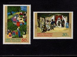 671353555 TURKISH CYPRUS 1982 POSTFRIS MINT NEVER HINGED POSTFRISCH EINWANDFREI SCOTT 120 121 PAINTINGS - Chypre (Turquie)