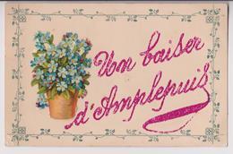 AMPLEPUIS (69) : UN BAISER D'AMPLEPUIS - CARTE FANTAISIE AVEC LES MOTIFS PEINTS ET COLLES EN RELIEF - 2 SCANS - - Amplepuis
