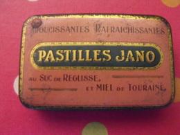 Boîte En Métal Lithographiée. Pastilles Jano, Réglisse , Mier De Touraine. Mineros Joué-les-tours - Boxes