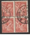 FRANCE 1944   IRIS   N°YT 652     Bloc De 4  /  Piquage à Cheval - 1939-44 Iris