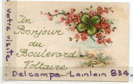 - Paris - Fantaisie -  Un Bonjour Du Boulevard Voltaire - Splendide, Peu Courante, Trèfle, écrite, Scans. - Arrondissement: 11