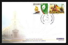 FDC COVER GIUSEPPE GARIBALDI 200TH ANNIVERSARY OF BIRTH HORSE SHIP BOAT Freemason Masonic JOINT ISSUE URUGUAY - BRAZIL - Emissioni Congiunte